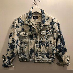Vintage tie-dyed cropped jean jacket 3/4 sleeves